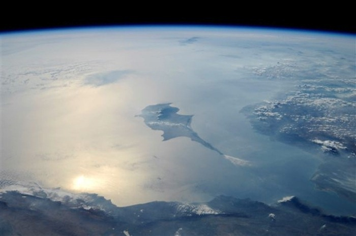 Perfect reflection of sunlight in the eastern Mediterranean.