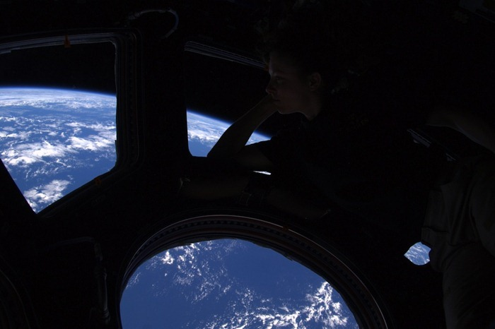 I wanted to share with you this view from the Dome. We said goodbye to the members of our group Sasha, Misha and Tracy this weekend, and they returned safely back to Earth. In this photo, Tracy quietly dreams of returning home.