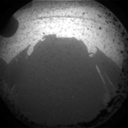 The Mars Curiosity rover sees its shadow in this image from inside Gale Crater on Mars